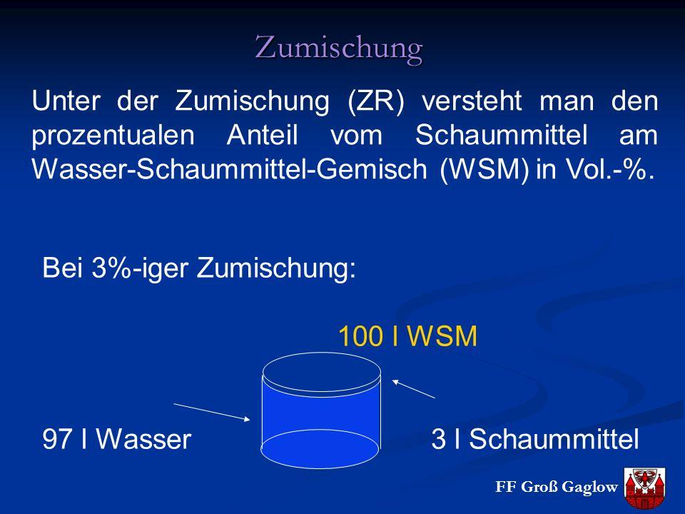 FF Groß Gaglow Zumischung Unter der Zumischung (ZR) versteht man den prozentualen Anteil vom Schaummittel am Wasser-Schaummittel-Gemisch (WSM) in Vol.-%.