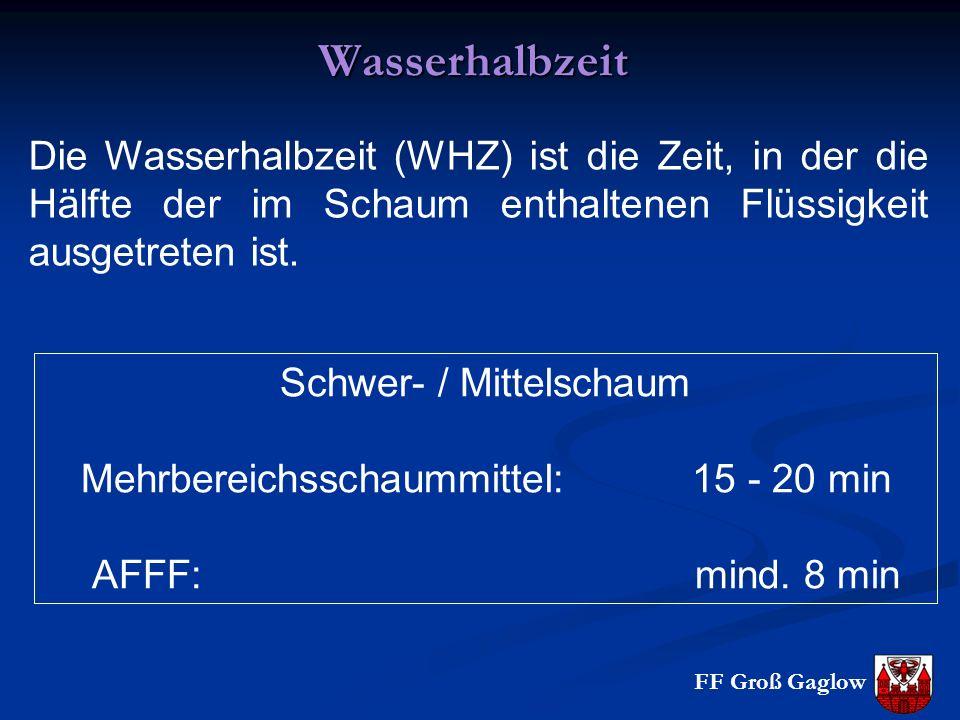 FF Groß GaglowWasserhalbzeit Die Wasserhalbzeit (WHZ) ist die Zeit, in der die Hälfte der im Schaum enthaltenen Flüssigkeit ausgetreten ist. Schwer- /