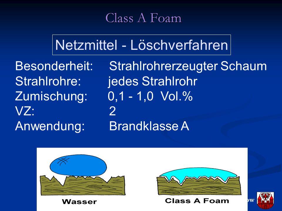 FF Groß Gaglow Class A Foam Netzmittel - Löschverfahren Besonderheit: Strahlrohrerzeugter Schaum Strahlrohre: jedes Strahlrohr Zumischung: 0,1 - 1,0 Vol.% VZ: 2 Anwendung: Brandklasse A