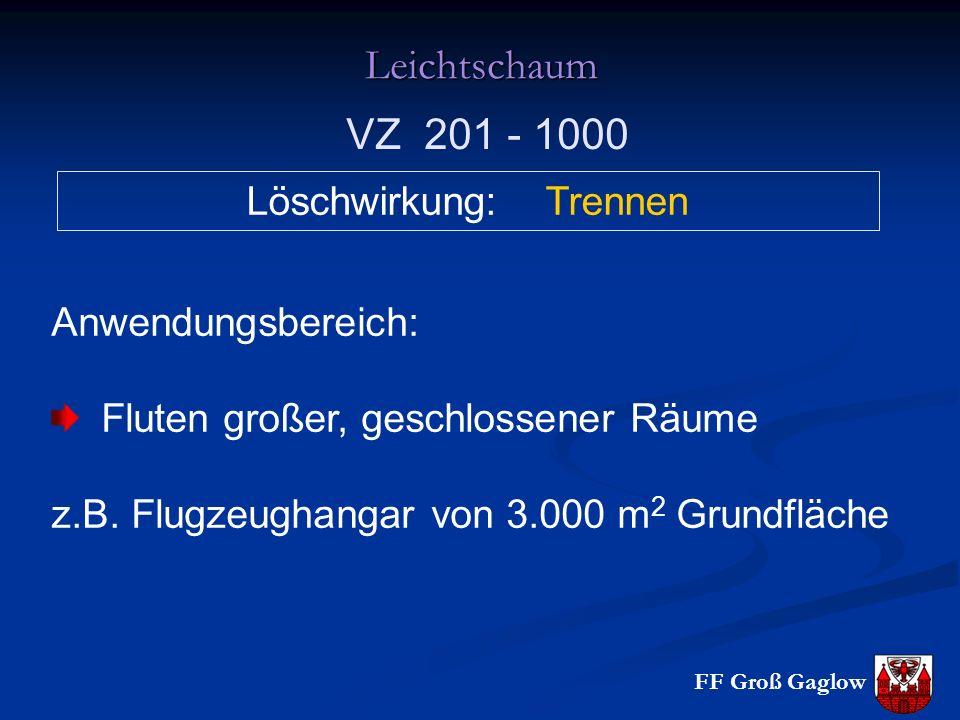 FF Groß Gaglow Leichtschaum Löschwirkung: Trennen Anwendungsbereich: Fluten großer, geschlossener Räume z.B.