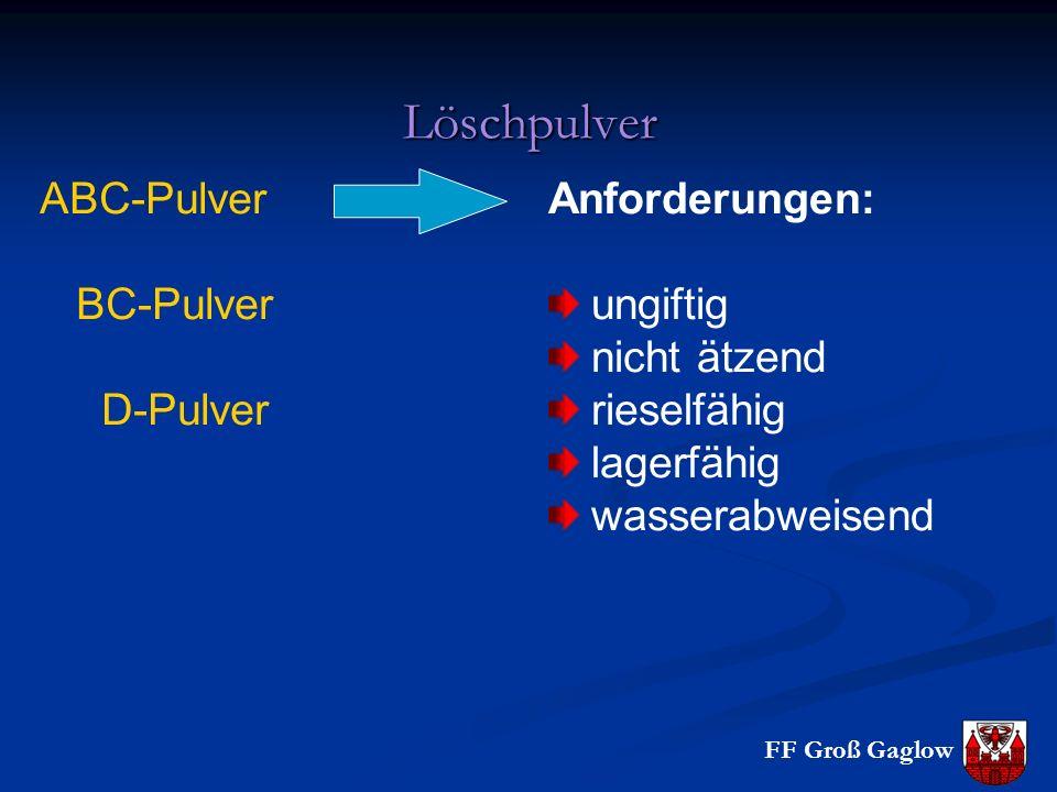 Löschpulver ABC-Pulver BC-Pulver D-Pulver Anforderungen: ungiftig nicht ätzend rieselfähig lagerfähig wasserabweisend