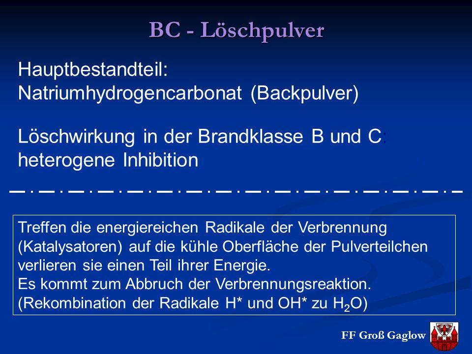 FF Groß Gaglow BC - Löschpulver Hauptbestandteil: Natriumhydrogencarbonat (Backpulver) Löschwirkung in der Brandklasse B und C: heterogene Inhibition Treffen die energiereichen Radikale der Verbrennung (Katalysatoren) auf die kühle Oberfläche der Pulverteilchen verlieren sie einen Teil ihrer Energie.