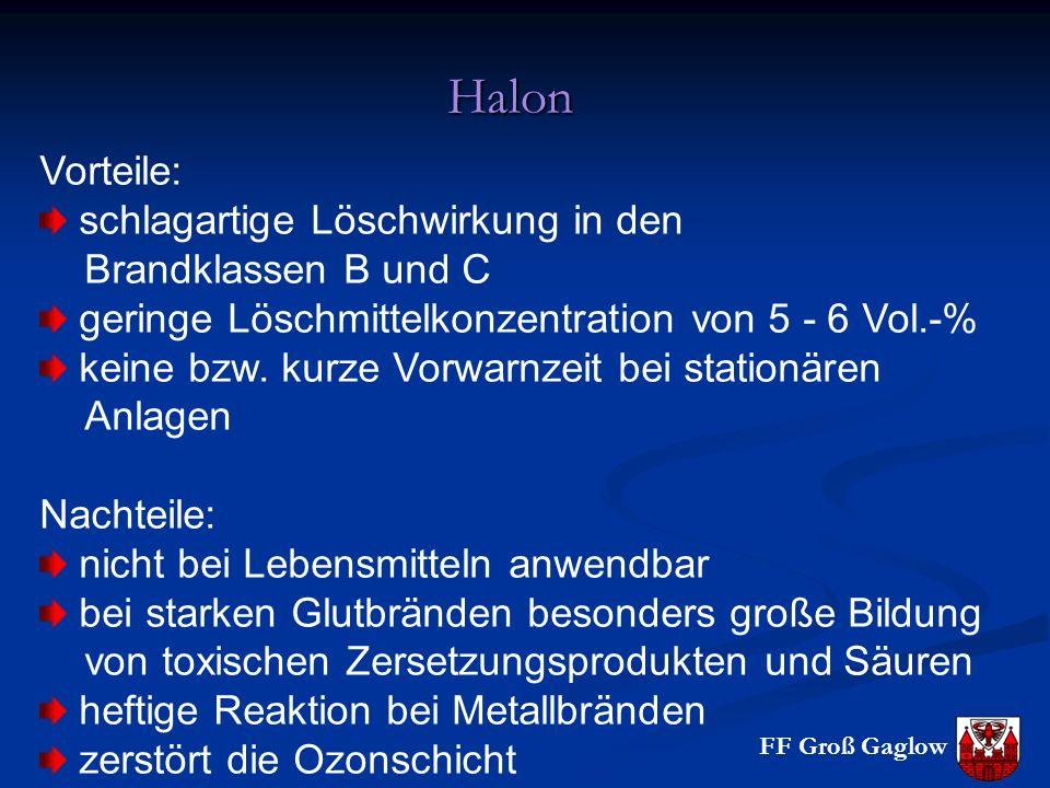 FF Groß Gaglow Halon Vorteile: schlagartige Löschwirkung in den Brandklassen B und C geringe Löschmittelkonzentration von 5 - 6 Vol.-% keine bzw. kurz