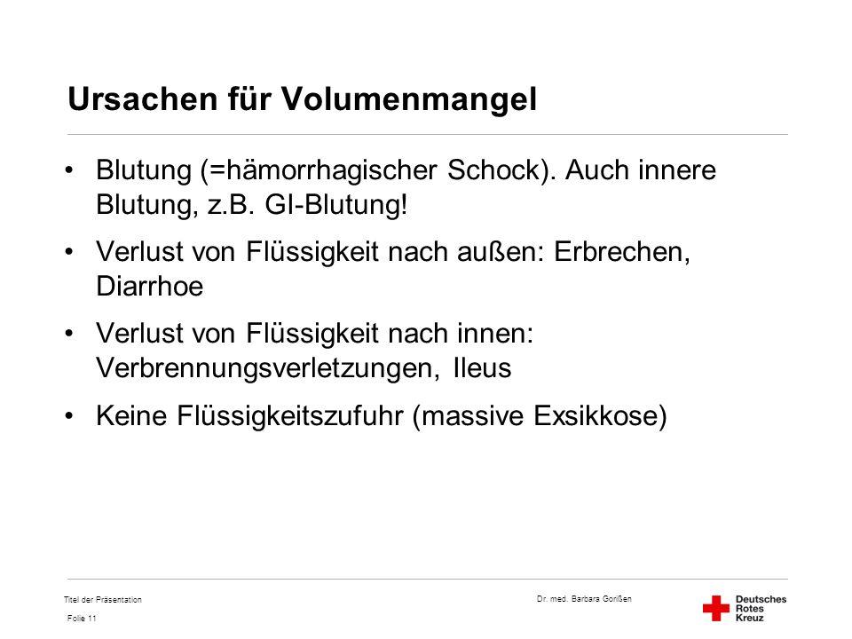 Dr. med. Barbara Gorißen Folie 11 Ursachen für Volumenmangel Blutung (=hämorrhagischer Schock). Auch innere Blutung, z.B. GI-Blutung! Verlust von Flüs