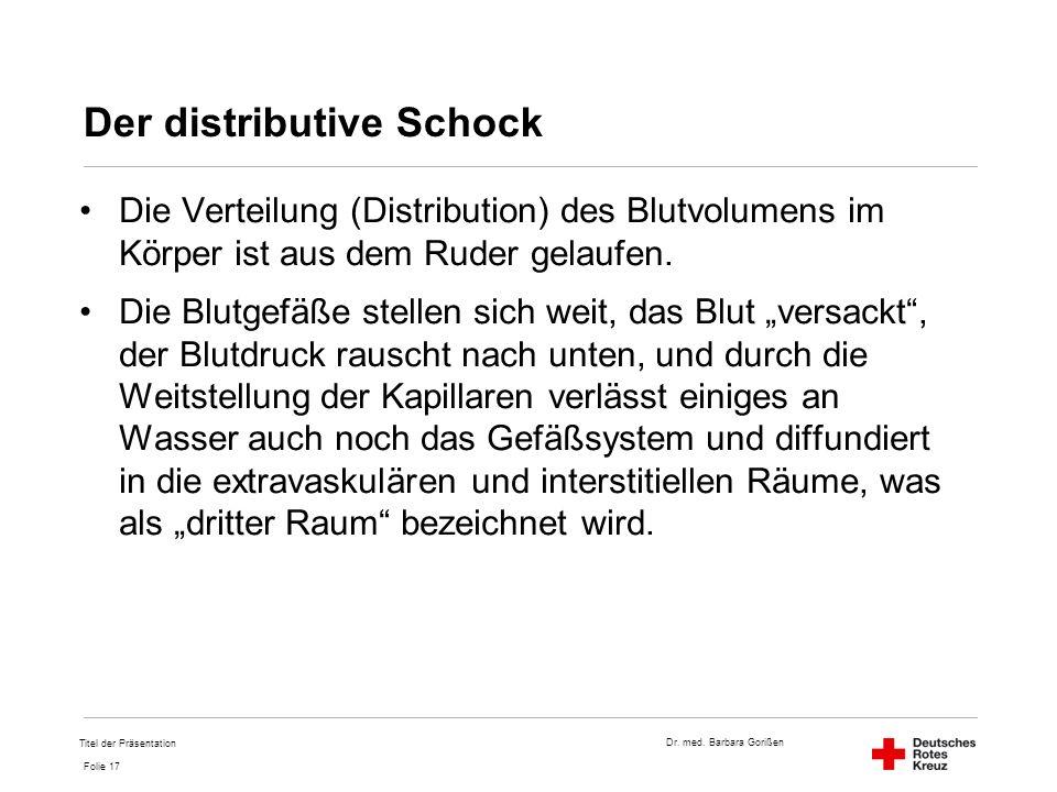 Dr. med. Barbara Gorißen Folie 17 Der distributive Schock Die Verteilung (Distribution) des Blutvolumens im Körper ist aus dem Ruder gelaufen. Die Blu