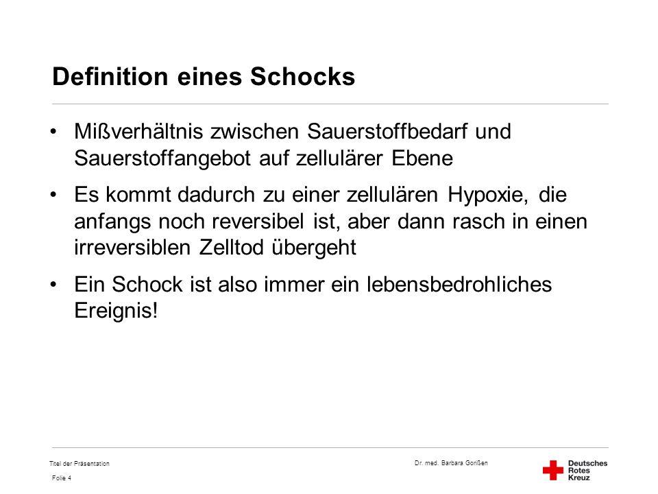 Dr. med. Barbara Gorißen Folie 4 Definition eines Schocks Mißverhältnis zwischen Sauerstoffbedarf und Sauerstoffangebot auf zellulärer Ebene Es kommt
