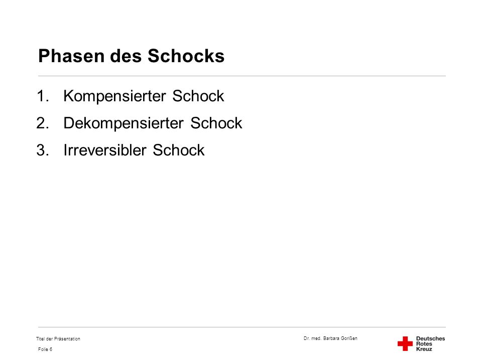 Dr. med. Barbara Gorißen Folie 6 Phasen des Schocks 1.Kompensierter Schock 2.Dekompensierter Schock 3.Irreversibler Schock Titel der Präsentation