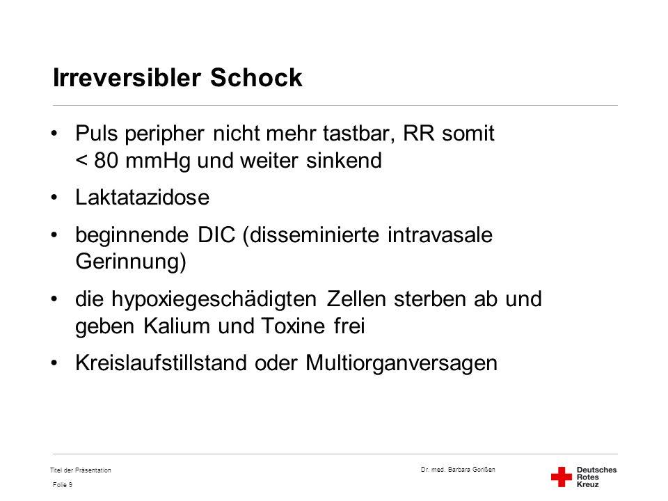 Dr. med. Barbara Gorißen Folie 9 Irreversibler Schock Puls peripher nicht mehr tastbar, RR somit < 80 mmHg und weiter sinkend Laktatazidose beginnende