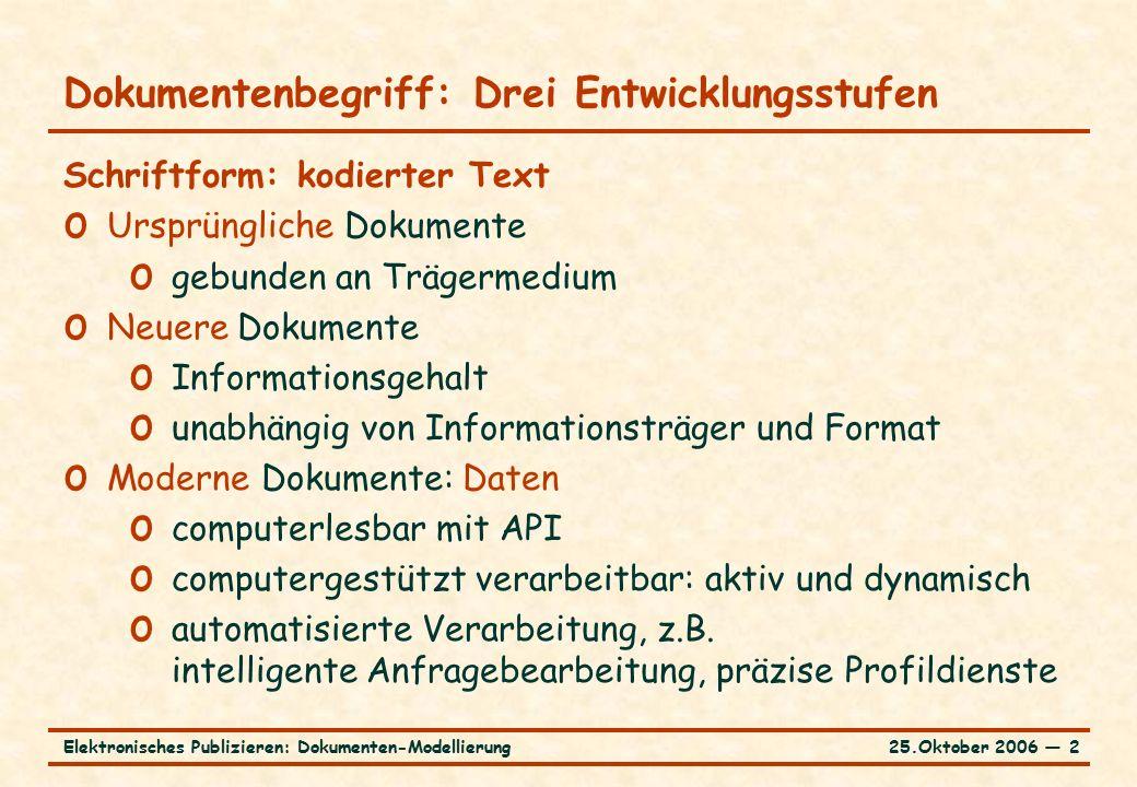 25.Oktober 2006 ― 13Elektronisches Publizieren: Dokumenten-Modellierung Baummodell und XML-Kodierung am Beispiel o Formatiertes Dokument [../../xmlSamples/compBook.pdf]../../xmlSamples/compBook.pdf o XML-Kodierung [../../xmlSamples/compBook.xml]../../xmlSamples/compBook.xml o semantisch reich o normalisiert o bearbeitbar o Als Baummodell [../../xmlSamples/compBookModel.pdf]../../xmlSamples/compBookModel.pdf