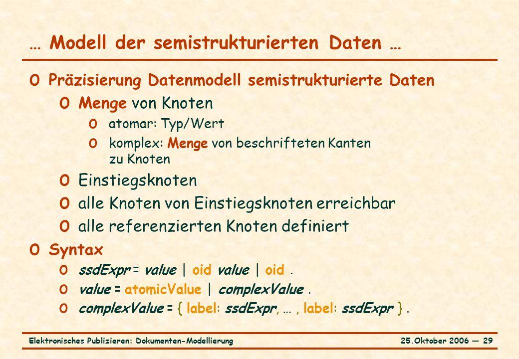 25.Oktober 2006 ― 29Elektronisches Publizieren: Dokumenten-Modellierung … Modell der semistrukturierten Daten … o Präzisierung Datenmodell semistrukturierte Daten o Menge von Knoten o atomar: Typ/Wert o komplex: Menge von beschrifteten Kanten zu Knoten o Einstiegsknoten o alle Knoten von Einstiegsknoten erreichbar o alle referenzierten Knoten definiert o Syntax o ssdExpr = value | oid value | oid.