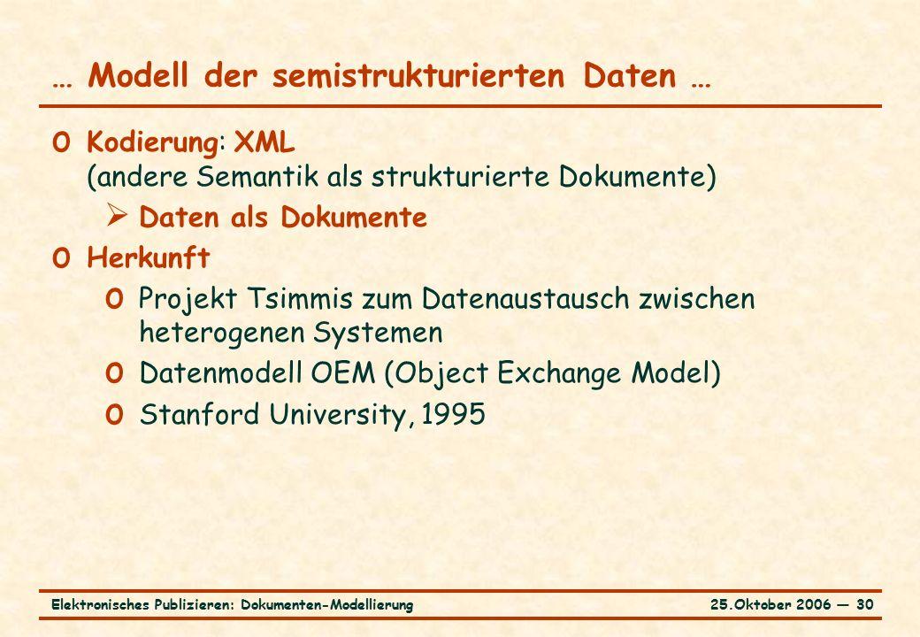 25.Oktober 2006 ― 30Elektronisches Publizieren: Dokumenten-Modellierung … Modell der semistrukturierten Daten … o Kodierung: XML (andere Semantik als strukturierte Dokumente)  Daten als Dokumente o Herkunft o Projekt Tsimmis zum Datenaustausch zwischen heterogenen Systemen o Datenmodell OEM (Object Exchange Model) o Stanford University, 1995