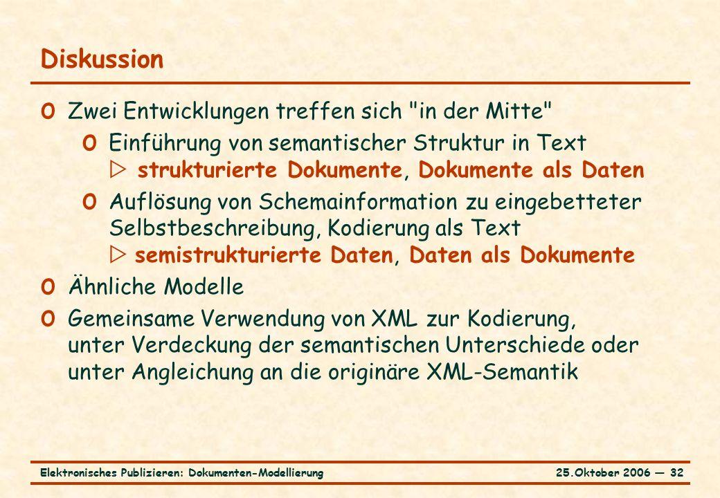 25.Oktober 2006 ― 32Elektronisches Publizieren: Dokumenten-Modellierung Diskussion o Zwei Entwicklungen treffen sich in der Mitte o Einführung von semantischer Struktur in Text  strukturierte Dokumente, Dokumente als Daten o Auflösung von Schemainformation zu eingebetteter Selbstbeschreibung, Kodierung als Text  semistrukturierte Daten, Daten als Dokumente o Ähnliche Modelle o Gemeinsame Verwendung von XML zur Kodierung, unter Verdeckung der semantischen Unterschiede oder unter Angleichung an die originäre XML-Semantik