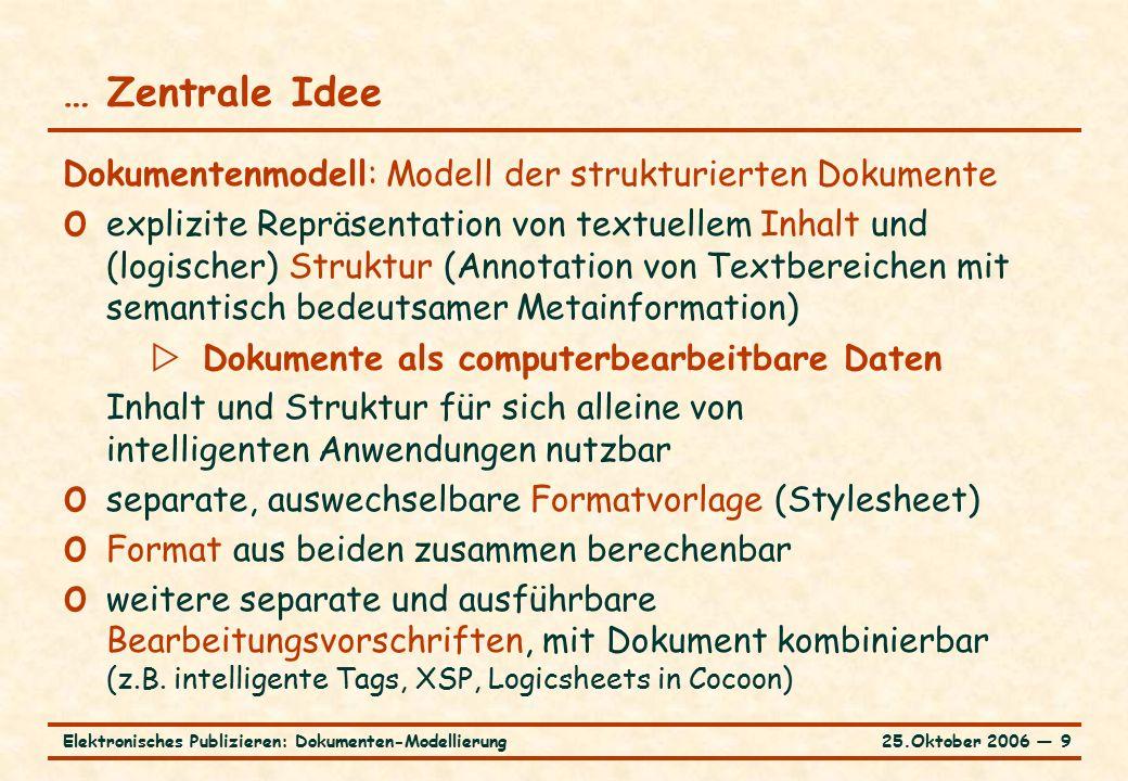 25.Oktober 2006 ― 10Elektronisches Publizieren: Dokumenten-Modellierung Präzisierung des Dokumentenmodells o Wesentlich die freie Wahl der Strukturelemente o bei festem Satz von Strukturelementen Simulation von Anwendungselementen unausweichlich  Verwässerung der Vorteile des Dokumentenmodells o Beispiele HTML, TEI  XML o Logische Strukturierung streng hierarchisch (hierarchische Schachtelung, keine Überlappungen von Strukturelementen) o Strukturelemente attributierbar (Liste von Name-Werte-Paaren)