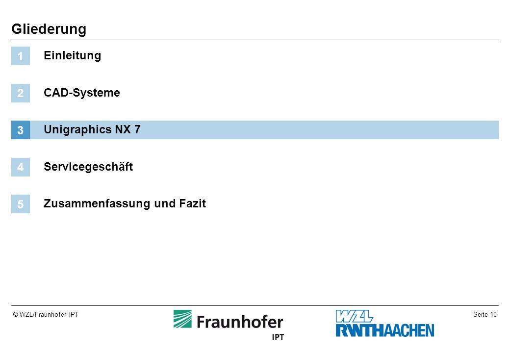 Seite 10© WZL/Fraunhofer IPT Gliederung Einleitung 1 CAD-Systeme 2 Unigraphics NX 7 3 Servicegeschäft 4 Zusammenfassung und Fazit 5