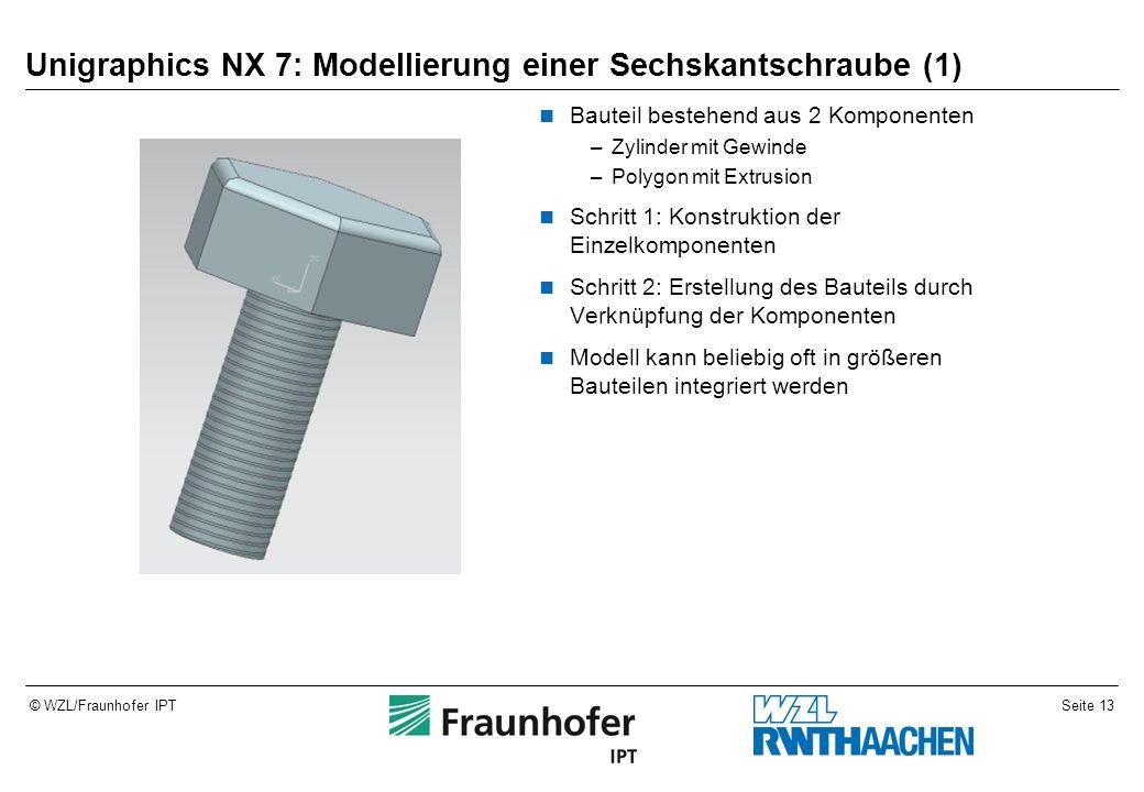 Seite 13© WZL/Fraunhofer IPT Unigraphics NX 7: Modellierung einer Sechskantschraube (1) Bauteil bestehend aus 2 Komponenten –Zylinder mit Gewinde –Pol