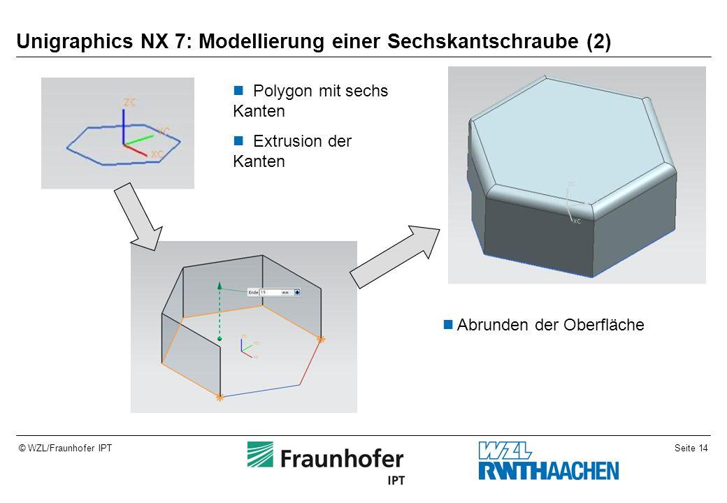 Seite 14© WZL/Fraunhofer IPT Unigraphics NX 7: Modellierung einer Sechskantschraube (2) Polygon mit sechs Kanten Extrusion der Kanten Abrunden der Oberfläche