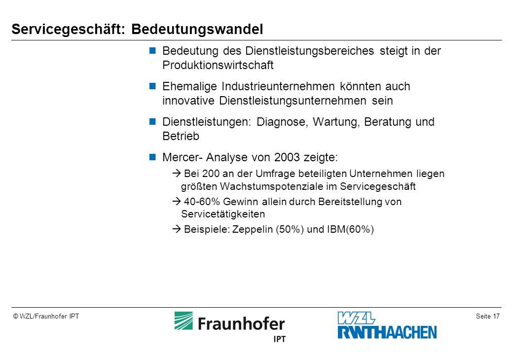 Seite 17© WZL/Fraunhofer IPT Servicegeschäft: Bedeutungswandel Bedeutung des Dienstleistungsbereiches steigt in der Produktionswirtschaft Ehemalige In