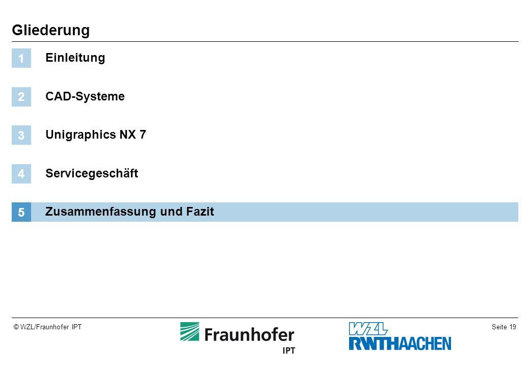 Seite 19© WZL/Fraunhofer IPT Gliederung Einleitung 1 CAD-Systeme 2 Unigraphics NX 7 3 Servicegeschäft 4 Zusammenfassung und Fazit 5