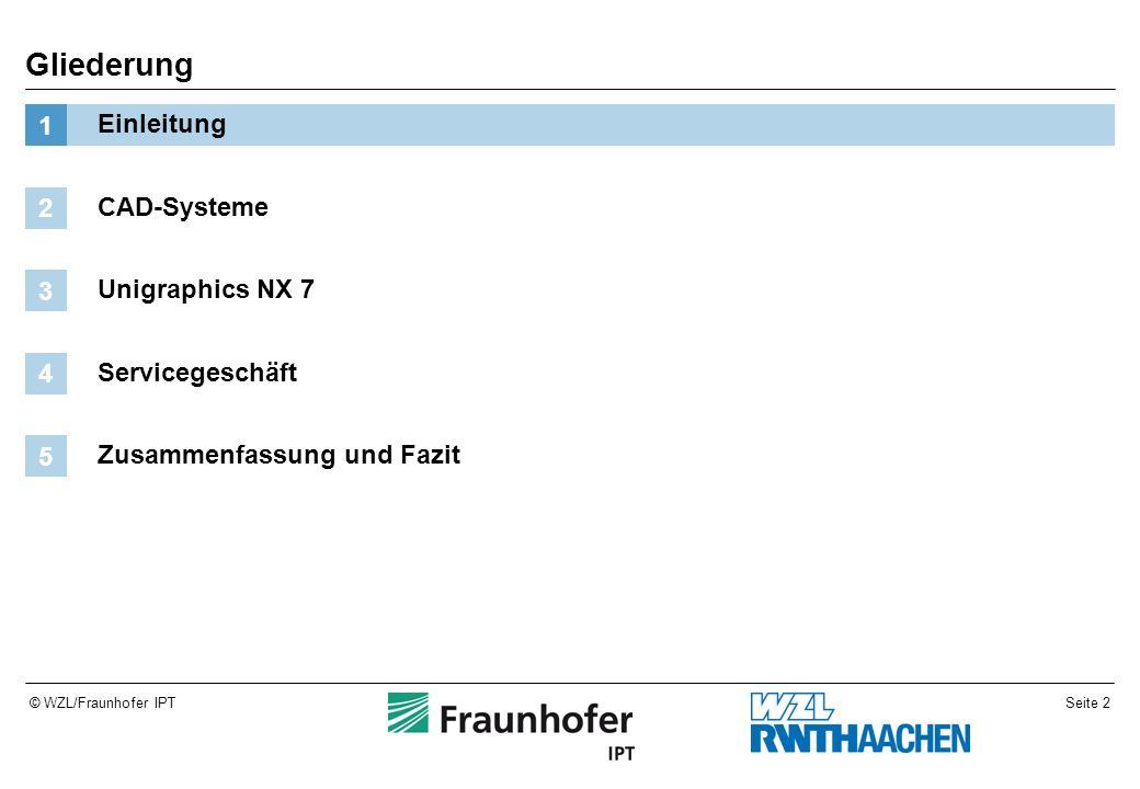 Seite 2© WZL/Fraunhofer IPT Gliederung Einleitung 1 CAD-Systeme 2 Unigraphics NX 7 3 Servicegeschäft 4 Zusammenfassung und Fazit 5