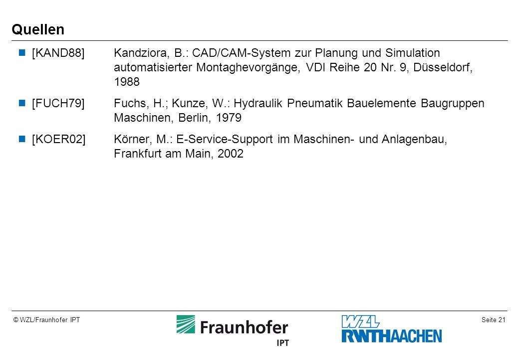 Seite 21© WZL/Fraunhofer IPT Quellen [KAND88]Kandziora, B.: CAD/CAM-System zur Planung und Simulation automatisierter Montaghevorgänge, VDI Reihe 20 Nr.