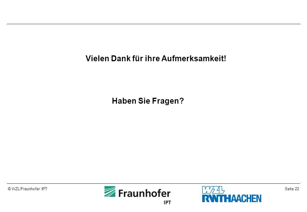 Seite 22© WZL/Fraunhofer IPT Vielen Dank für ihre Aufmerksamkeit! Haben Sie Fragen?