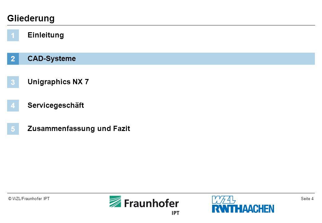 Seite 4© WZL/Fraunhofer IPT Gliederung Einleitung 1 CAD-Systeme 2 Unigraphics NX 7 3 Servicegeschäft 4 Zusammenfassung und Fazit 5