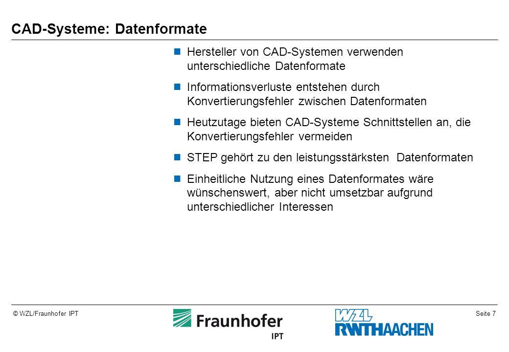 Seite 7© WZL/Fraunhofer IPT CAD-Systeme: Datenformate Hersteller von CAD-Systemen verwenden unterschiedliche Datenformate Informationsverluste entsteh