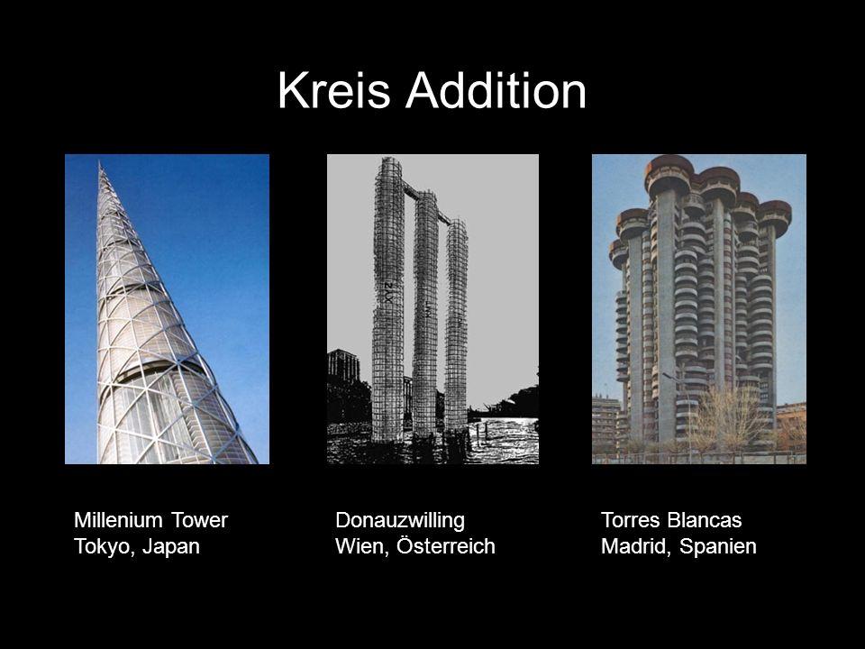 Kreis Addition Millenium Tower Tokyo, Japan Donauzwilling Wien, Österreich Torres Blancas Madrid, Spanien