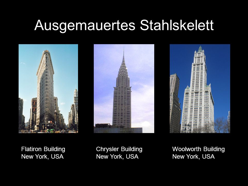 Ausgemauertes Stahlskelett Flatiron Building New York, USA Chrysler Building New York, USA Woolworth Building New York, USA