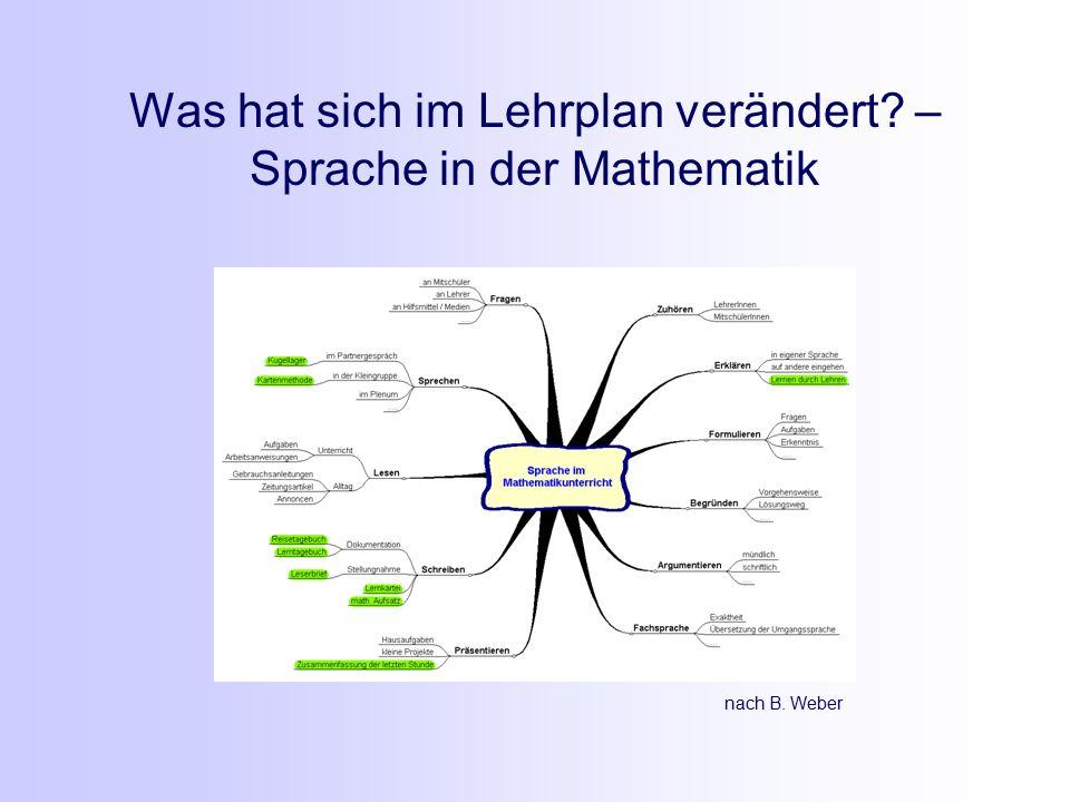 Was hat sich im Lehrplan verändert – Sprache in der Mathematik nach B. Weber
