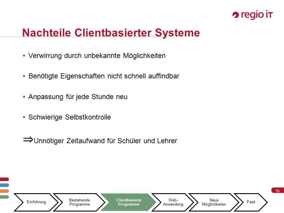 10 Nachteile Clientbasierter Systeme Einführung Bestehende Programme Clientbasierte Programme Web- Anwendung Neue Möglichkeiten Fazit