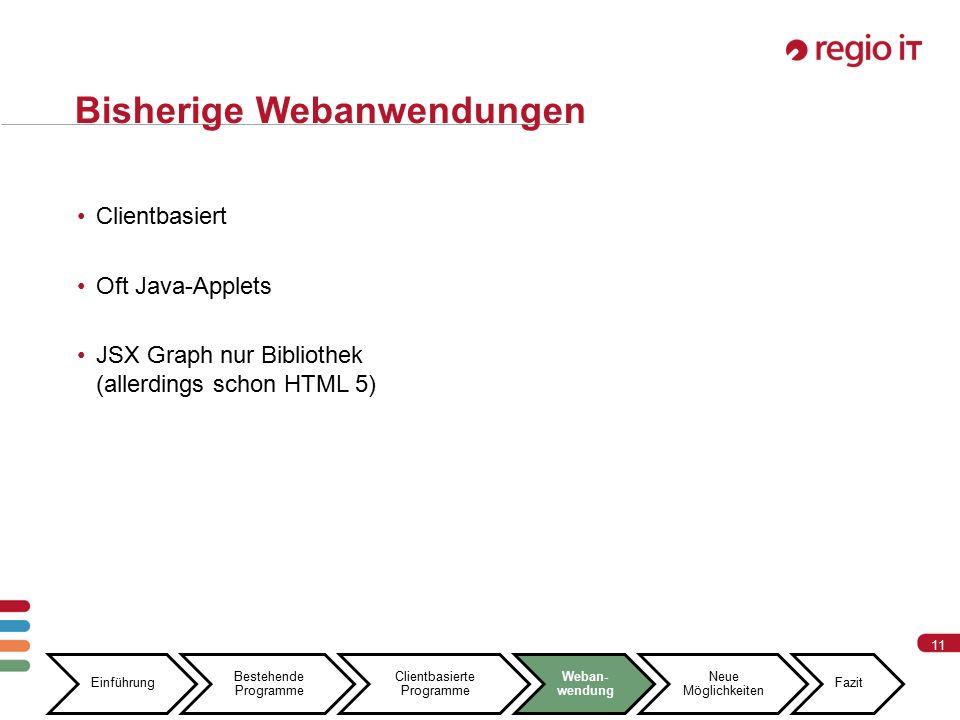 11 Bisherige Webanwendungen Clientbasiert Oft Java-Applets JSX Graph nur Bibliothek (allerdings schon HTML 5) Einführung Bestehende Programme Clientbasierte Programme Weban- wendung Neue Möglichkeiten Fazit