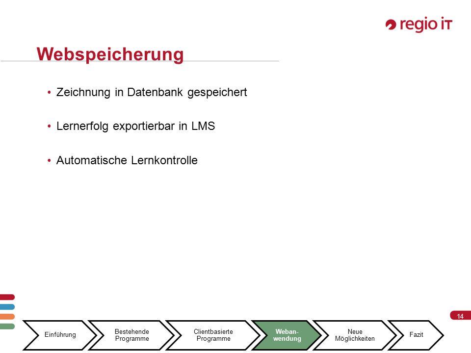 14 Webspeicherung Zeichnung in Datenbank gespeichert Lernerfolg exportierbar in LMS Automatische Lernkontrolle Einführung Bestehende Programme Clientbasierte Programme Weban- wendung Neue Möglichkeiten Fazit