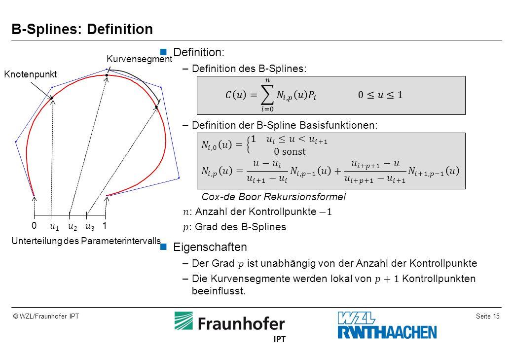 Seite 15© WZL/Fraunhofer IPT B-Splines: Definition 01 Unterteilung des Parameterintervalls Knotenpunkt Kurvensegment