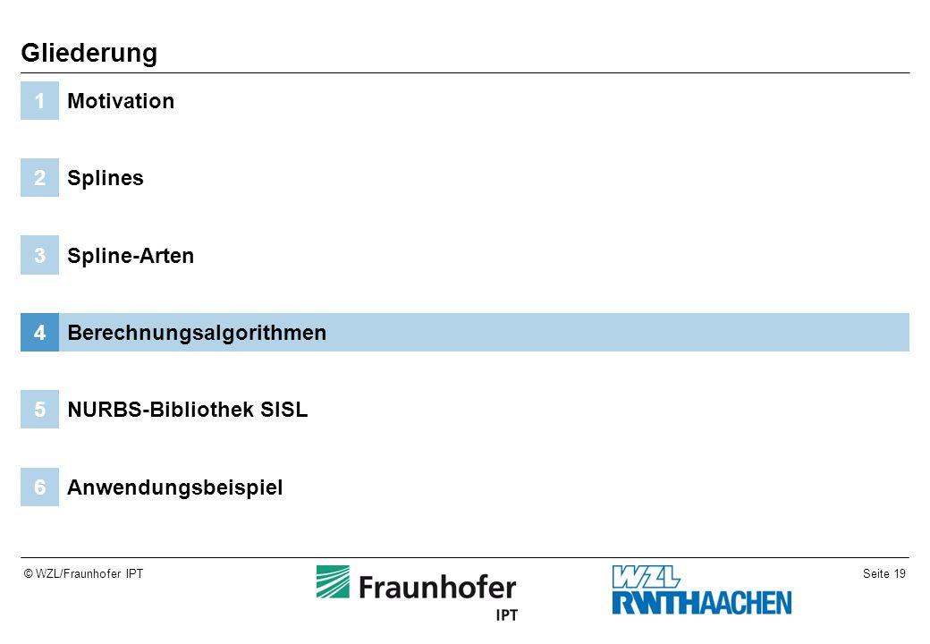Seite 19© WZL/Fraunhofer IPT Anwendungsbeispiel6 NURBS-Bibliothek SISL5 Berechnungsalgorithmen4 Spline-Arten3 Splines2 Motivation1 Gliederung