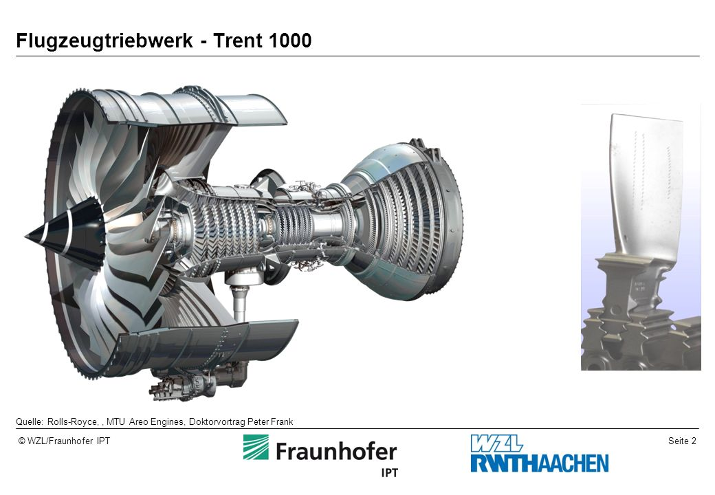 Seite 2© WZL/Fraunhofer IPT Flugzeugtriebwerk - Trent 1000 Quelle: Rolls-Royce,, MTU Areo Engines, Doktorvortrag Peter Frank