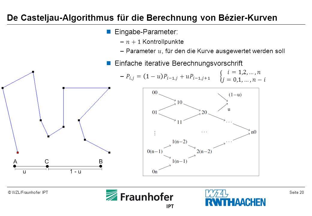 Seite 20© WZL/Fraunhofer IPT De Casteljau-Algorithmus für die Berechnung von Bézier-Kurven