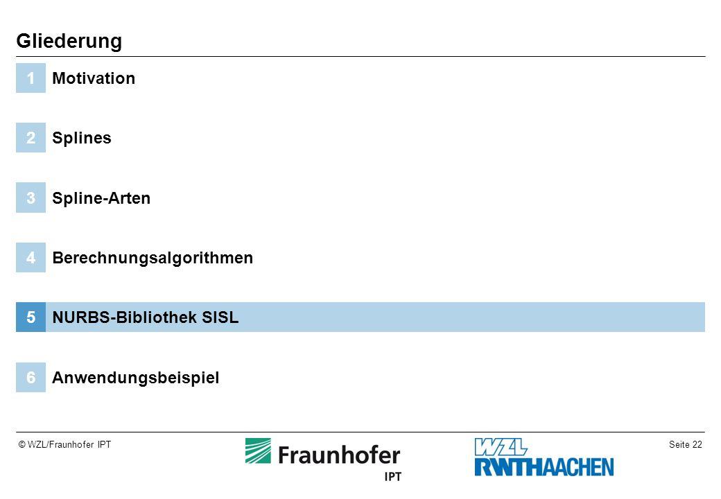 Seite 22© WZL/Fraunhofer IPT Anwendungsbeispiel6 NURBS-Bibliothek SISL5 Berechnungsalgorithmen4 Spline-Arten3 Splines2 Motivation1 Gliederung