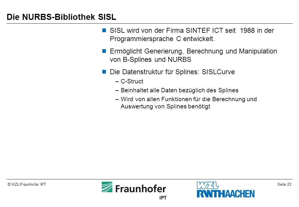 Seite 23© WZL/Fraunhofer IPT Die NURBS-Bibliothek SISL SISL wird von der Firma SINTEF ICT seit 1988 in der Programmiersprache C entwickelt. Ermöglicht