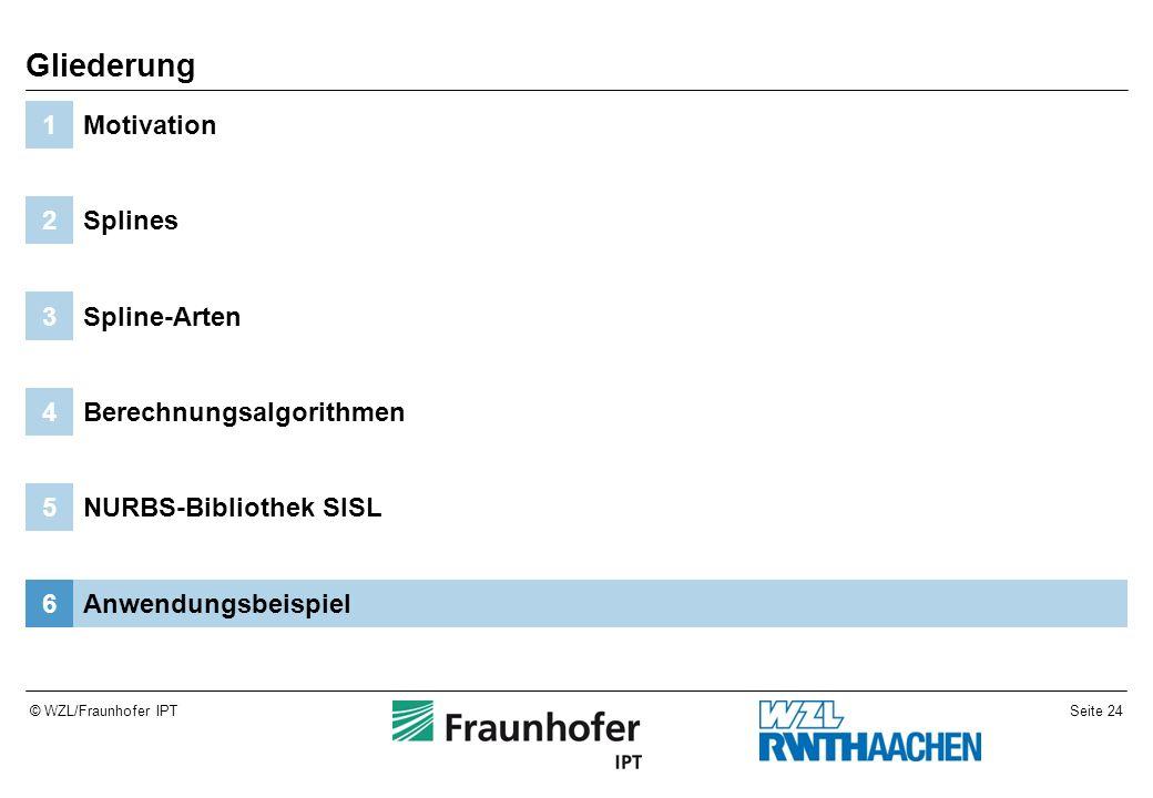 Seite 24© WZL/Fraunhofer IPT Anwendungsbeispiel6 NURBS-Bibliothek SISL5 Berechnungsalgorithmen4 Spline-Arten3 Splines2 Motivation1 Gliederung