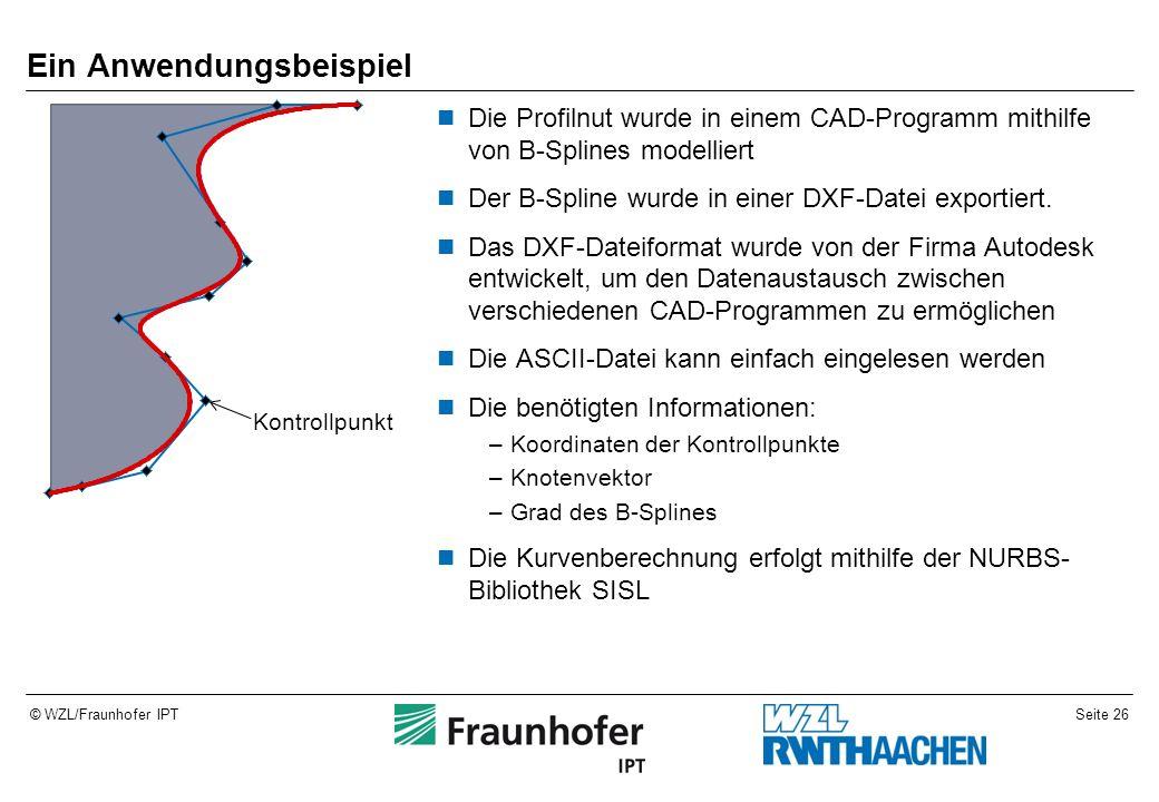 Seite 26© WZL/Fraunhofer IPT Ein Anwendungsbeispiel Die Profilnut wurde in einem CAD-Programm mithilfe von B-Splines modelliert Der B-Spline wurde in einer DXF-Datei exportiert.