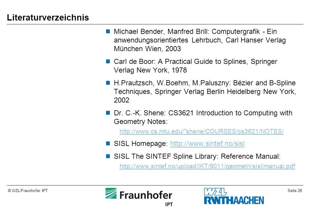 Seite 28© WZL/Fraunhofer IPT Literaturverzeichnis Michael Bender, Manfred Brill: Computergrafik - Ein anwendungsorientiertes Lehrbuch, Carl Hanser Ver