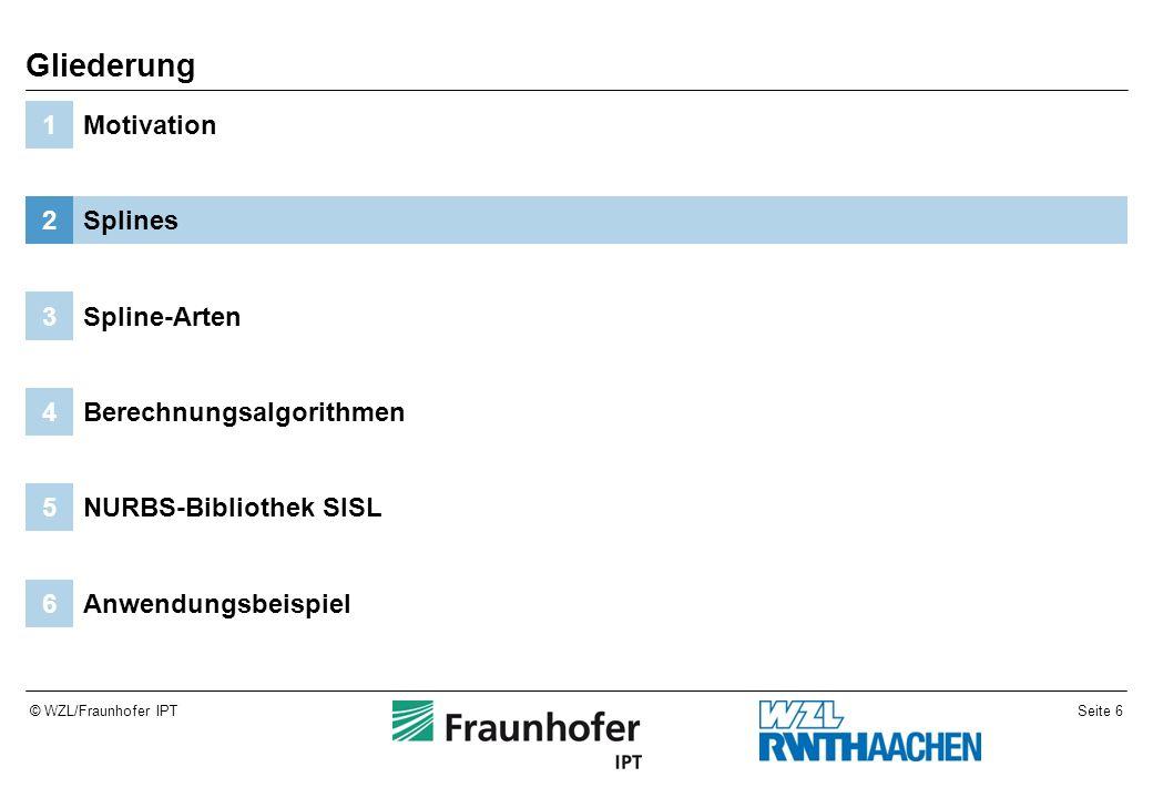 Seite 6© WZL/Fraunhofer IPT Anwendungsbeispiel6 NURBS-Bibliothek SISL5 Berechnungsalgorithmen4 Spline-Arten3 Splines2 Motivation1 Gliederung