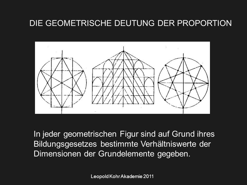 Leopold Kohr Akademie 2011 DIE GEOMETRISCHE DEUTUNG DER PROPORTION In jeder geometrischen Figur sind auf Grund ihres Bildungsgesetzes bestimmte Verhältniswerte der Dimensionen der Grundelemente gegeben.