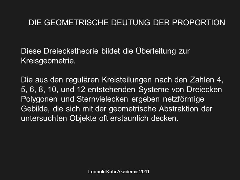 Leopold Kohr Akademie 2011 DIE GEOMETRISCHE DEUTUNG DER PROPORTION Diese Dreieckstheorie bildet die Überleitung zur Kreisgeometrie.