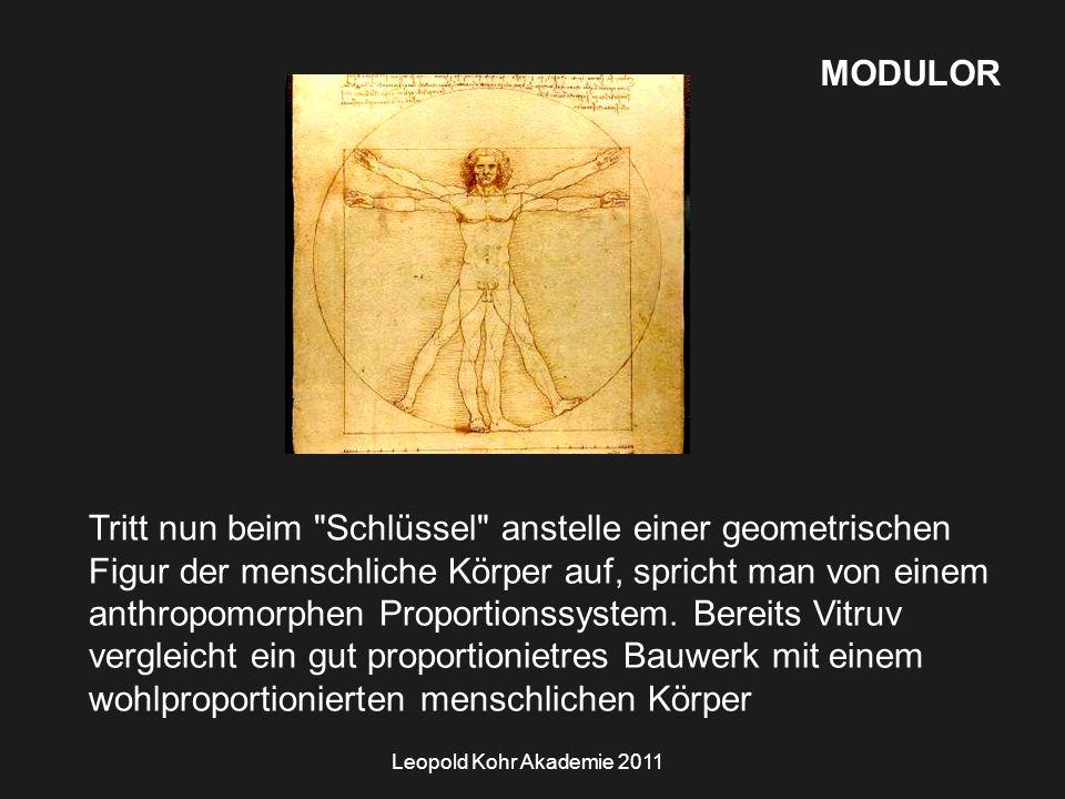 Leopold Kohr Akademie 2011 MODULOR Tritt nun beim Schlüssel anstelle einer geometrischen Figur der menschliche Körper auf, spricht man von einem anthropomorphen Proportionssystem.