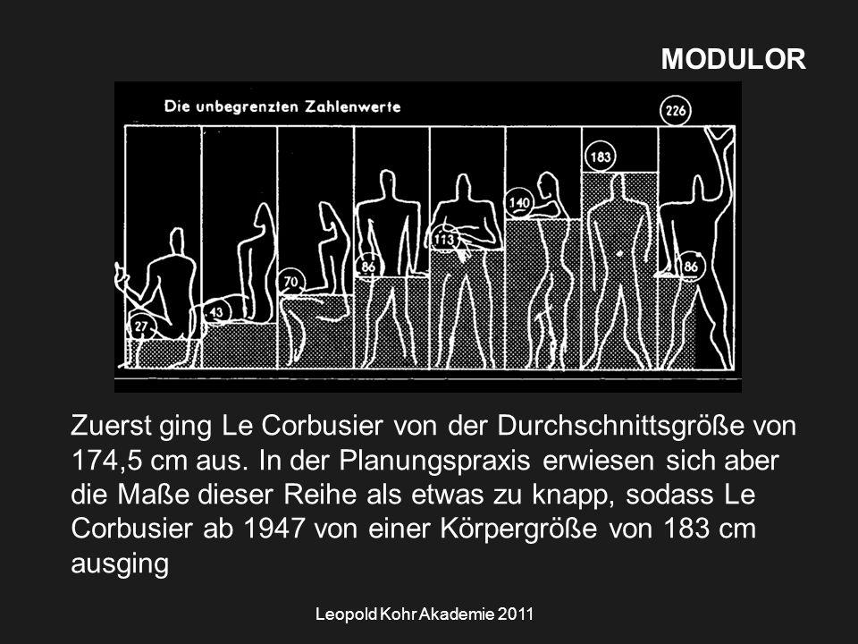 Leopold Kohr Akademie 2011 MODULOR Zuerst ging Le Corbusier von der Durchschnittsgröße von 174,5 cm aus.