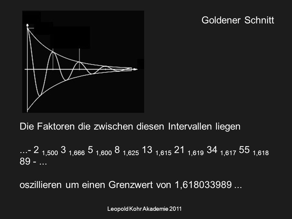 Leopold Kohr Akademie 2011 Goldener Schnitt Die Faktoren die zwischen diesen Intervallen liegen...- 2 1,500 3 1,666 5 1,600 8 1,625 13 1,615 21 1,619 34 1,617 55 1,618 89 -...