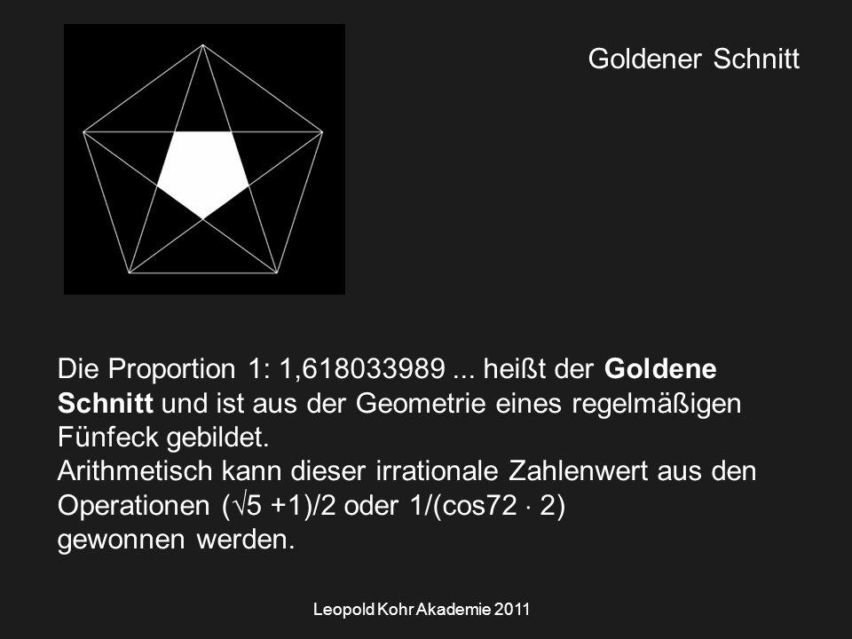 Leopold Kohr Akademie 2011 Goldener Schnitt Die Proportion 1: 1,618033989...