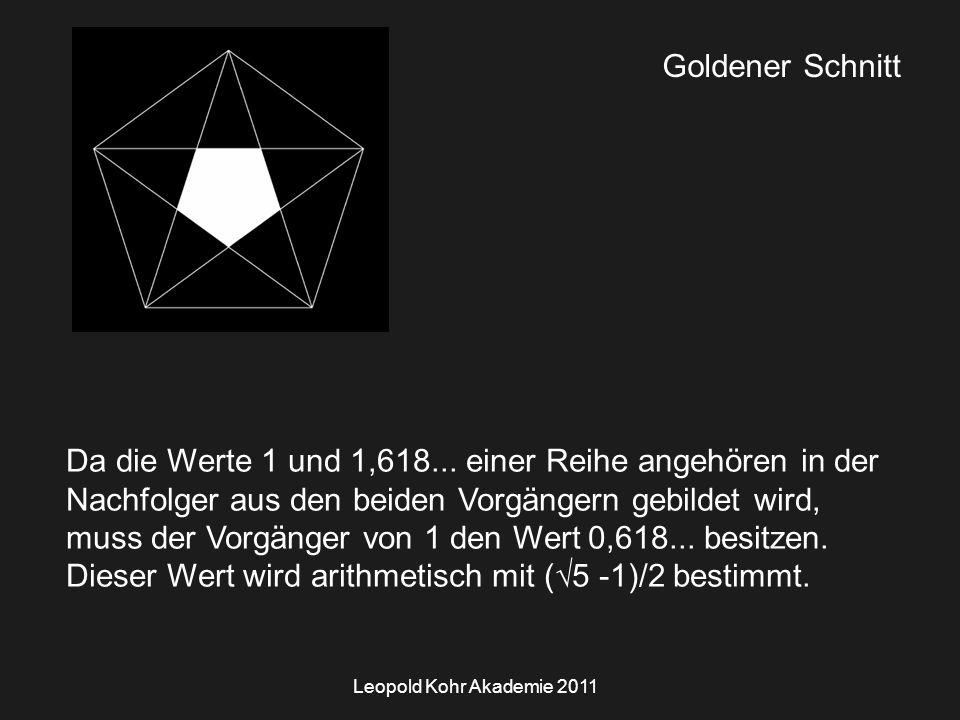 Leopold Kohr Akademie 2011 Goldener Schnitt Da die Werte 1 und 1,618...